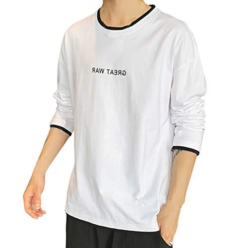 ZZBO Herren Pullover Rundhals-Ausschnitt Mode Aufdruck Longsleeve Sweatshirt Langarmshirt Crew Neck T-Shirt Hemd Herbst Winter Thermo Unterhemd Casual Einfacher Stil M-XXXL(Grau, Weiß, Schwarz, Wein)