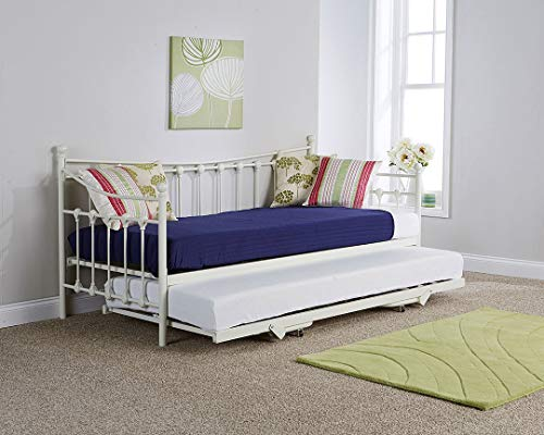 Metal Guest Day Bed with Pull out Trundle Bedroom Furniture Organiser - Black or Ivory (Ivory)