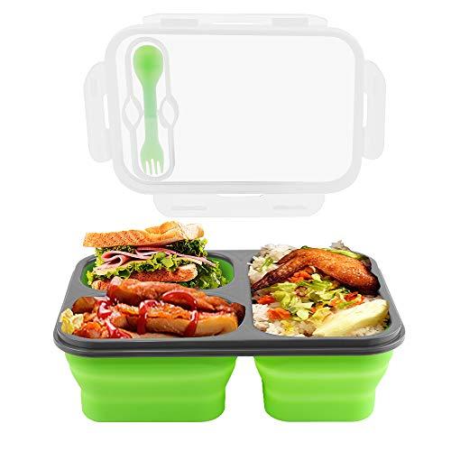 Manfore Silikon Lunchbox, Zusammenklappbaren Frischhaltedosen 3 Fach, Silikon Bento Box Meal Prep Boxen mit Deckle, Wiederverwendbar & Hohe Temperaturbeständigkeit, für Backofen mit Mikrowelle (Grün)