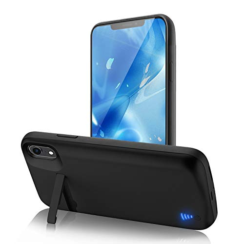 """[Upgraded] SlaBao Battery Case for iPhone XR, 6800mAh Portable Charging Case with Kickstand and Lightning Port Rechargable Battery Pack for Apple XR Backup Charger Case (6.1"""")-Black"""
