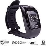 tellimed Solino - GPS Notruf Uhr Smartwatch mit 14+ Funktionen - Zuverlässige & einfache Bedienung für maximale Sicherheit Zuhause & Unterwegs - Kinder, Erwachsene & Senioren Notruf - Schwarz