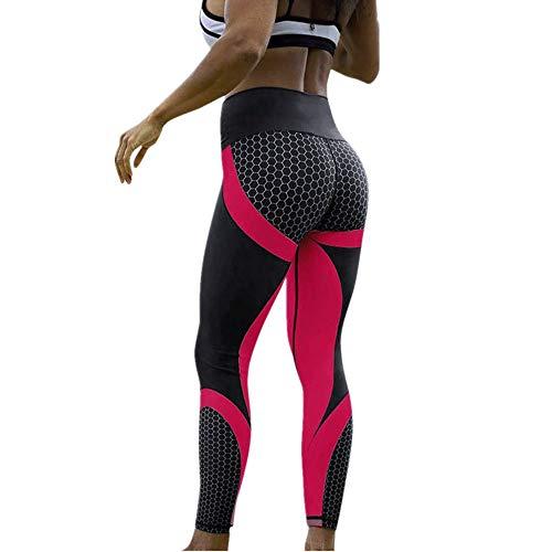 MORCHAN ❤ Femmes 3D Print Yoga Skinny entraînement Gym Leggings Entraînement Sportif Pantalons Pantacourt(Small,Rose Vif)