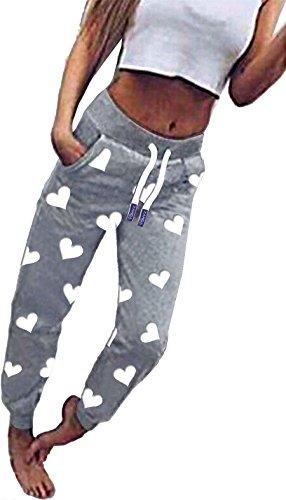 ZAHIDA Damen Hose Jogginghose Trainingshose Fitnesshose Schlafhose Schlafanzug-Hose Herz Fitness Joggen Sweatpants (Grau (gr. Herz 001), 3XL