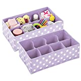 mDesign Juego de 2 cajones organizadores – Organizador de bebé en fibra sintética para calcetines, baberos y más – Perfecta caja para guardar juguetes con 8 divisiones – lila/lunares blancos