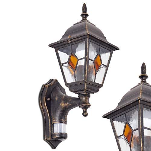Applique da Parete da Esterno Sensore di Movimento Integrato- Lampada da Muro per Giardino Esterno Design Classico- Applique Paralumi Vetro Decorati