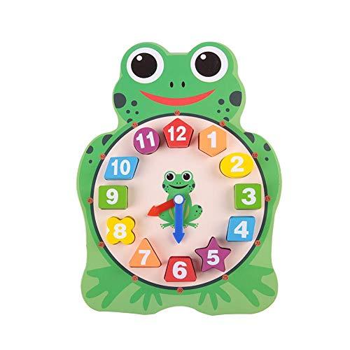 Reloj de forma de madera, reloj de rana búho de dibujos animados lindo, juego de aprendizaje de rompecabezas digital de tiempo, juguete educativo de la primera infancia (Frog)