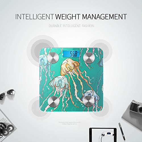 GIRLOS Pattern Hand Drawn Jellyfishes Bubbles Best Rated Bathroom Scales Digital Scales Bodyfat Scale Tracks 8 Key Compositions Analyzer Sync with Fitness Apps 400 Lbs