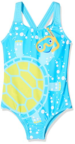 Speedo - Costume da Bagno Bambina Elasticizzato Decorato con Tartaruga, Colore Blu/Giallo, Taglia 4 Anni