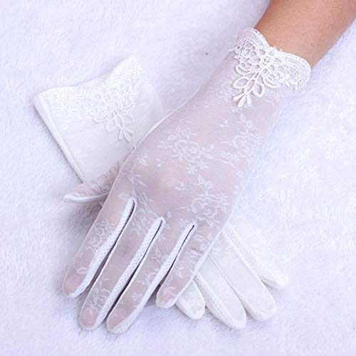 Xst Lace Gloves UV-Proof Driving Gloves Female Guantes,White