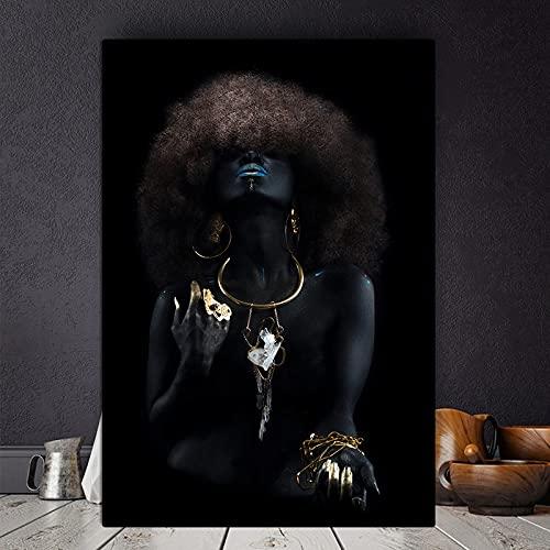 Pintura al óleo de dedo dorado para mujeres negras africanas de pelo mullido en lienzo Cuadros carteles e impresiones imagen de pared para sala de estar 60x80 CM (sin marco)