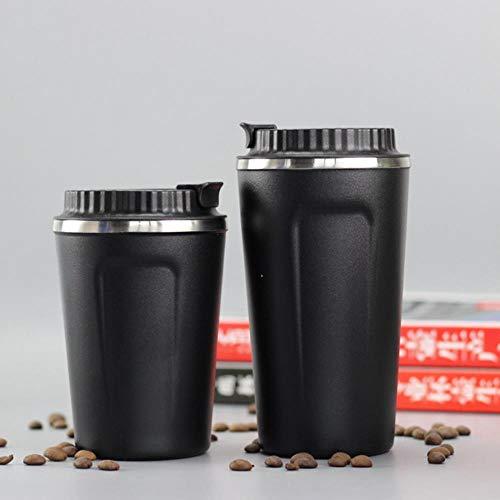 380/500 ML koffiemok roestvrijstalen mok met deksel Dubbelwandige vacuüm geïsoleerde beker BPA-vrije koffiekop voor buiten, zwart, 380 ml