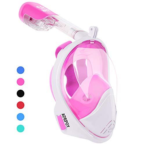 Adepoy Tauchmaske Schnorchelmaske Vollmaske Vollgesichtsmaske mit 180°breitem Sichtfeld und Kamerahalterung, Anti-Beschlag Wasserdicht freie Atmung, für Kinder und Erwachsene