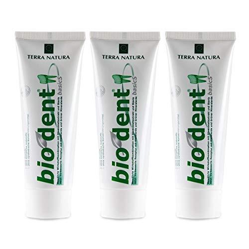 TERRA NATURA Bio Dent BasicS (3x75ml) mit Olivenblattextrakt, Kamille und Stevia, Fluoridfrei, homöopathiverträgliche Bio-Zahnpasta, Kieselerde, Vegan, ohne Konservierungsstoffe, Naturkosmetik