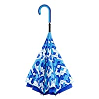 【CARRY saKASA (キャリーサカサ) CityModel】 濡れない傘 逆折り式傘 逆さ傘 逆さま傘 自立式 テフロン撥水 UV99%カット 革命傘 高耐風 (ブルー/ブルー 柄入り)