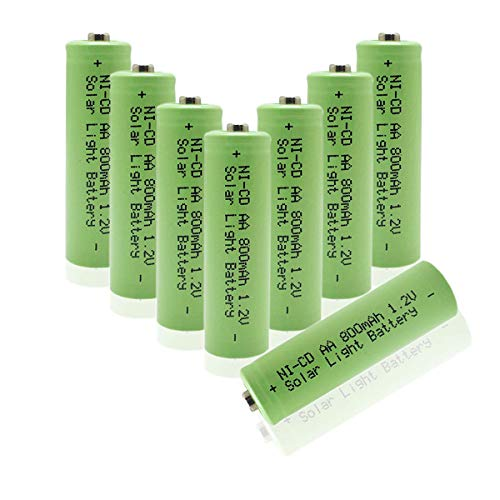 QBLPOWER Ni-CD AA 800mAh 1.2V Rechargeable Battery for Solar Outdoor Lights Lamp Garden Yard Lawn(8 Pieces)