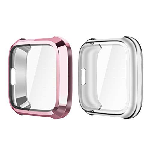 Fintie Schutzhülle kompatibel mit Fitbit Versa Lite Gesundheits & Fitness Smartwatch - [2 Stück] Ultra-Dünn Leichte Schutzfolie Polycarbonat Harte Schutz Gehaüse Abdeckung, Roségold/Transparent