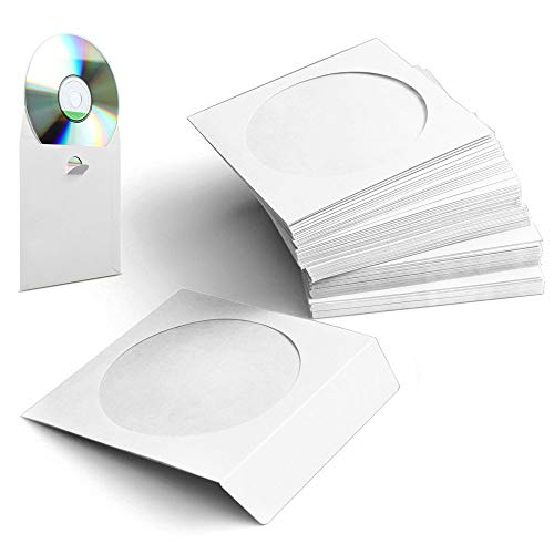 100 Pack CD DVD Paper Sleeves, Standard Disk Holder, CD DVD Envelope Cases, Premium Storage Box Book with Clear Window and Close Tab(White)
