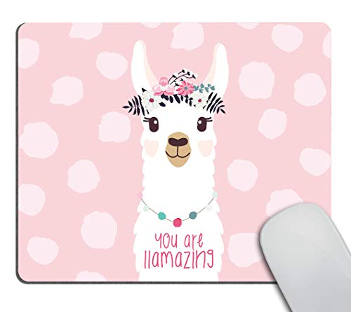 Smooffly Funny Quote Mouse Pad Cute Llama Design Mousepad Non-Slip Rubber Gaming Mouse Pad Rectangle Mouse Pads for Computers Laptop - You are llamazing