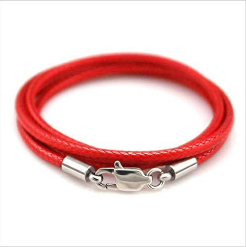 BOSAIYA 1,5 mm 2 mm 3 mm Cordón de Cuero Collar Negro Cadena de Acero Inoxidable Cierre de Langosta Conector Redondo Cuerda Encerada para Hombres Mujeres TL0301 (Color : Red 1.5mm, Size : 40cm)
