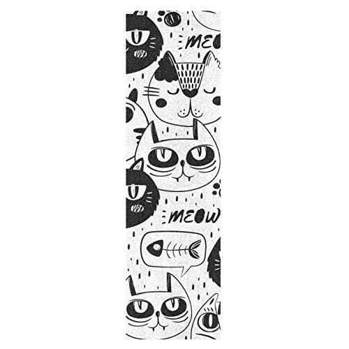 Gatos Lindos Blancos Negros Monopatín Papel de Lija Antideslizante Hoja Cinta de Agarre Lijas para Patineta Scooter Etiquetas engomadas (84 x 23 cm)