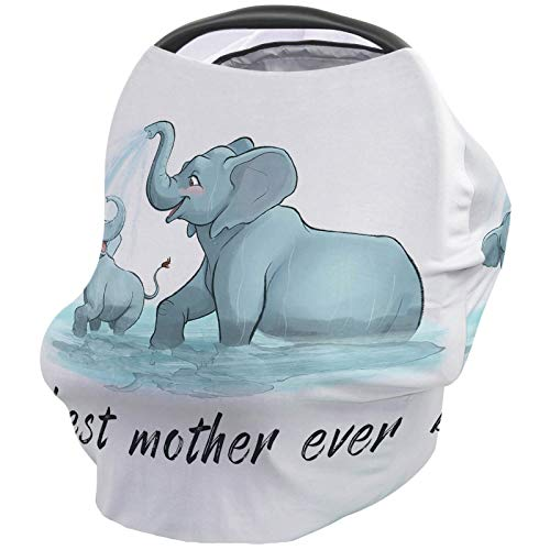 Baby Stroller Cover Breastfeeding Nursing Shawl, Soft Breathable Breastfeeding Towel for Infant Carseat Canopy, Shopping Cart, Highchair - Best Mother Ever Cute Elephant Mother and Child Playing