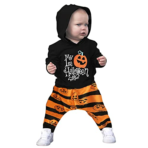 Disfraz Halloween Niño Fossen 1-4 años Niña Calabaza Pequeño Diablo Camisetas + Pantalones (1 años, Negro)