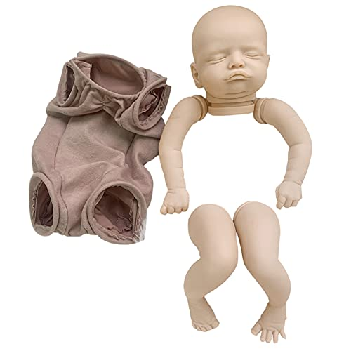 POHOVE Kit de muñecas Reborn sin pintar de 20 pulgadas, kit de bebé recién nacido, kit de muñecas de vinilo suave realista incluido cabeza, cuerpo de tela, brazos y piernas, regalo de cumpleaños