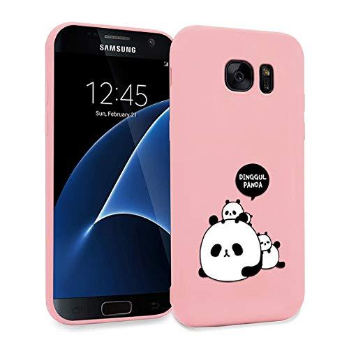 ZhuoFan Cover Samsung Galaxy S7 Edge, Custodia Cover Silicone Rosa con Disegni Ultra Slim TPU Morbido Antiurto 3d Cartoon Bumper Case Protettiva per Samsung Galaxy S7 Edge, 3 Panda