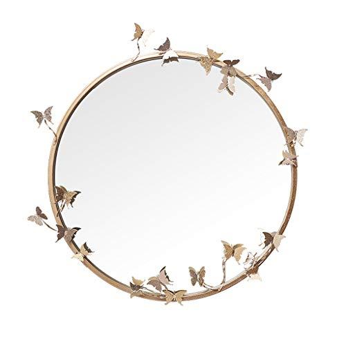 XDD Wand-Badezimmerspiegel Kreative DIY-Spiegel Metall Schmetterling Runde Badezimmerspiegel Gold Silber 65cm Für Badezimmer Wohnzimmer Eingang