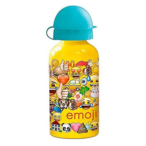 ML Botella de Agua Aluminio para niños y niñas emoticonos Whatsapp, 0.4 L cantimplora térmica a Prueba de Fugas sin BPA para Levar a la Escuela y Deportes el Termo/400 500ml (Multicolor, 400ml)