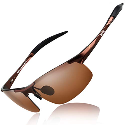 DUCO Mens Sports Polarized Sunglasses UV Protection Sunglasses for Men 8177s(Brown Frame Brown Lens)