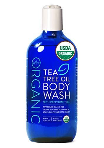 USDA Organic Tea Tree Oil Body Wash by Be-One Organics - Antifungal - Paraben & Sulfate Free - Sensitive Skin - Jock Itch - Acne - Eczema - Yeast Infection - For Men & Women - MADE IN USA