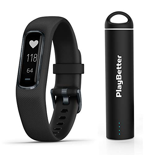 Garmin vivosmart 4 (Black/Midnight - Small/Medium) Smart Activity Tracker Power Bundle | +PlayBetter Portable Charger | Fitness Activity Tracker | Heart Rate