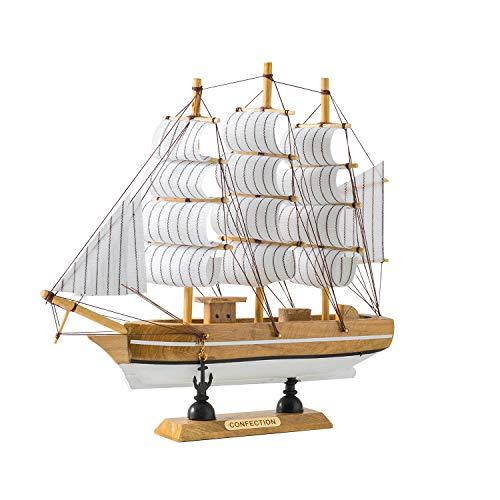 Sailing Ship Model Decor,Wooden Miniature Sailing Boat Model Handmade Vintage Nautical Sail Ship 7.87x1.77x7.87 Inch for Tabletop Ornament, Ocean Theme Home Decor - 15 Colors (B)