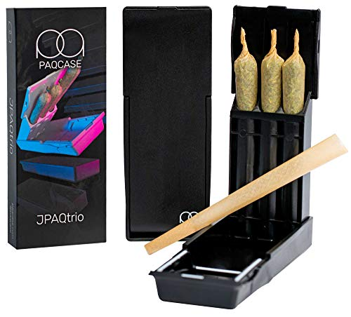 JPAQtrio - The #1 Ultra-Sleek Joint Holder, Crush-Proof Doob Tube, and Cigarette Case, Holds 3 King Size Prerolls, Portable, Compact Joint Holder (Black)