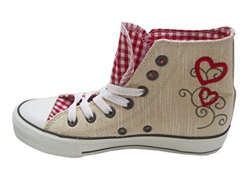 Tolle Damen Trachtenschuhe Sneaker in Natur aus Leinen von Krüger Madl Gr:-39 EU Farbe:-Beige