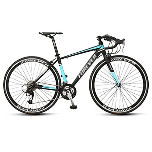 WANYE 700C * 28C Bicicleta De Carretera para Adultos Marco De Acero Rueda De Llanta Alta Freno De Disco Doble Sistema De Engranajes De 27 Velocidades Bicicleta De Carreter Black blue-27speed