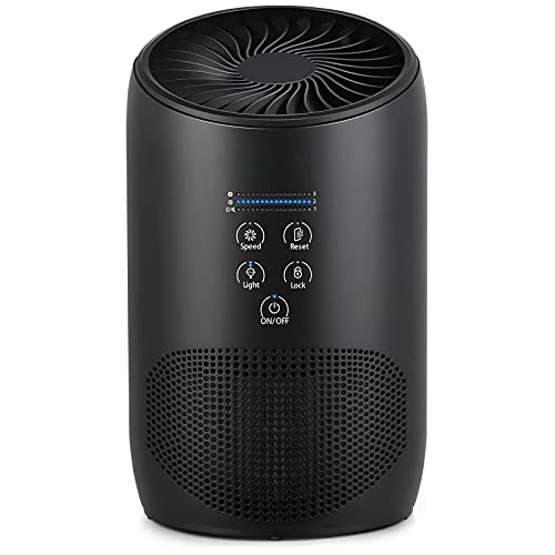 Air Purifier Black 1 Pack, Air Purifiers for Home Bedroom, Smoke Air Cleaner with Fragrance Sponge, Ultra Quiet HEPA Air Purifier 99.97% Effectively Rem0ve Air Pollutants