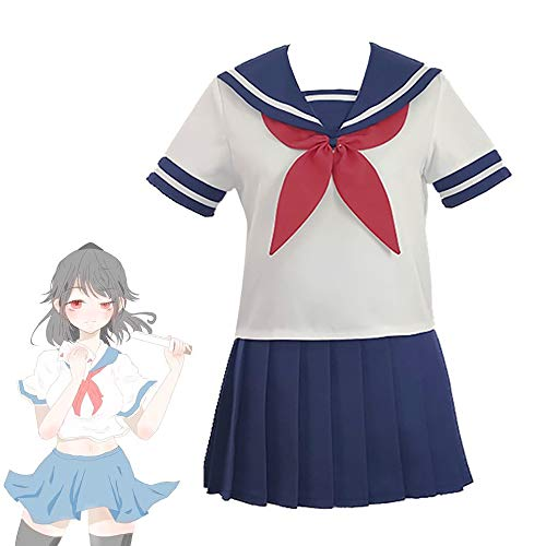 LuBHnna Yandere Simulator Cosplay Uniform, Ayano Aishi Kostüm Japanische Schuluniformen Navy Sailor Kleid Anime JK Uniform Outfit