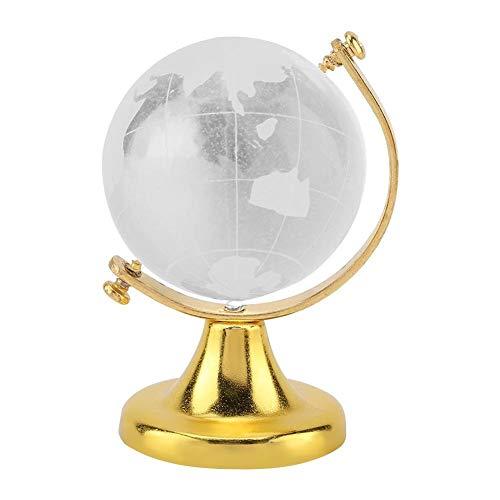 Crystall Globus, Round Earth Globe Weltkarte Kristallglas-Kugel-Bereich Home Office Dekor-Geschenk (Farbe : Golden)