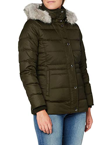 Tommy Hilfiger TH ESS Tyra Down Jkt with Fur Chaqueta, Camo Green, L para Mujer