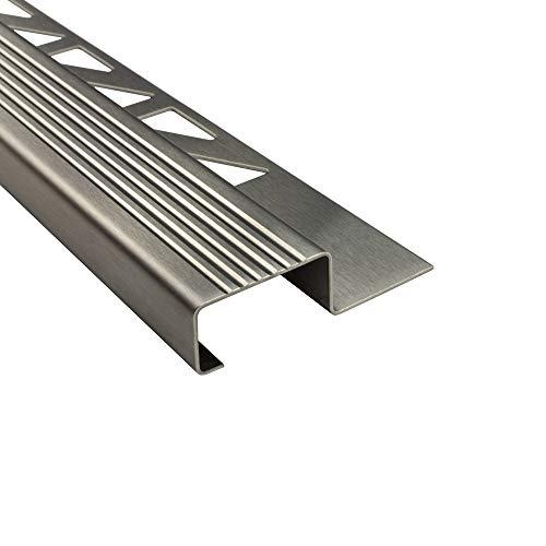 Edelstahl Stufenprofil Fliesenleiste Profil Treppen Schiene L250cm H12mm gebürstet
