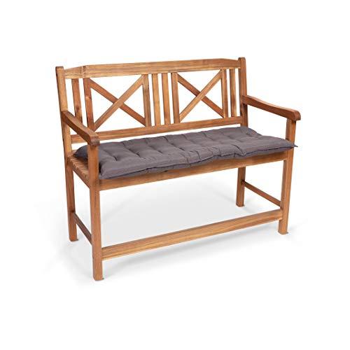 Homeoutfit24 Sun Garden 1-Stück Bankauflage Sylt in Grau Sitzkomfort auf höchstem Niveau, hochwertiges Polsterkissen für Gartenmöbel, 110 x 50 x 7 cm