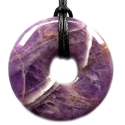 Piedras de donut de 4 cm (con cordón de cuero) o pijama chino amatista
