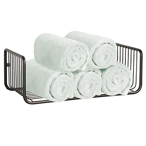 mDesign Repisa de baño – Estante de pared con una balda para guardar champú, sales de baño, cosméticos y otros utensilios de baño – Práctico y decorativo estante para ducha – color bronce