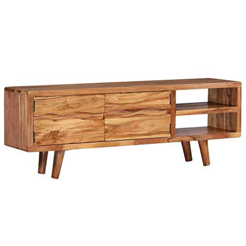 Festnight TV-Schrank | Rustikal Fernsehtisch | TV Lowboard Tisch | Vintage Fernsehschrank | Holz TV Board | Geschnitzte Türen | Massives Akazienholz 117x30x40 cm