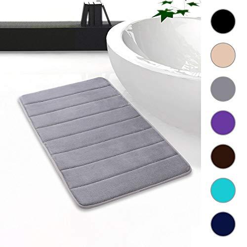 Homaxy Memory Foam Badezimmer Badeteppiche Saugfähige Rutschfester Badvorleger Waschbar Badematte - 50 x 80 cm, Grau