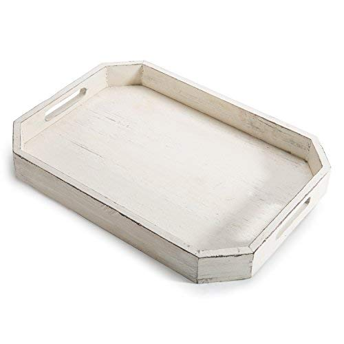 MyGift Rustic Whitewashed Wood Serving Tray with Cut-out Handles and Angled Edges