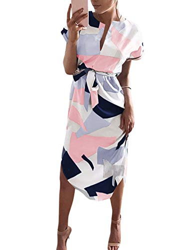 YOINS Damen Sommerkleid Lang V-Ausschnitt Maxikleider Strandkleid Strandmode, Weiß, Gr.- EU 36-38/ Herstellergröße- S