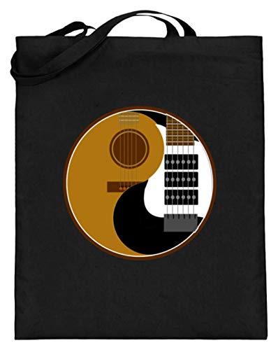 Ying Und Yang - Akustik Und Elektro Gitarre Rock Musik - Schlichtes Und WItziges Design - Jutebeutel (mit langen Henkeln)